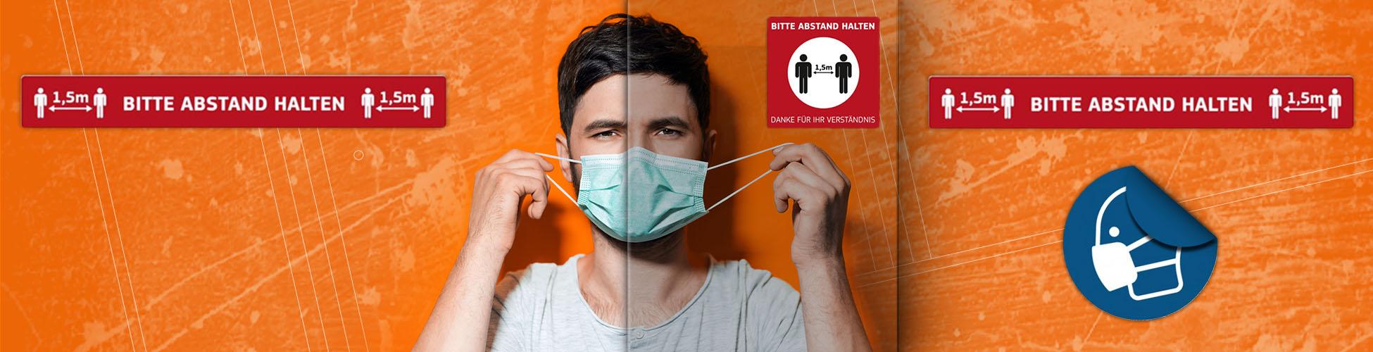 Hygieneschutz, Schutzmaßnahmen Corona, Aufkleber Corona, Aufkleber Hinweise, Abstand halten