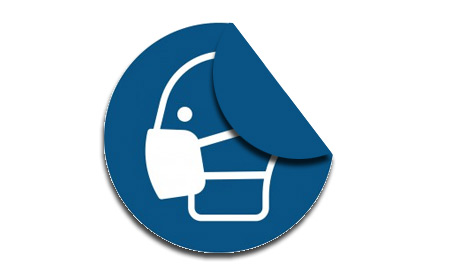 Schutzaufkleber, Aufkleber Hinweis, Mundschutz Aufkleber, Outdooraufkleber, Cornona Schutz