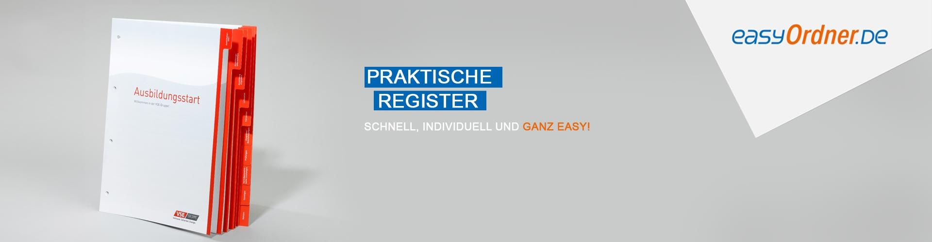 Register, individuelle Register bedrucken, Trennblätter, Ordnerregister